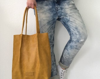 Yellow oil tanned leather tote bag