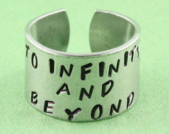 SALE - To Infinity and Beyond Rocket Ring - Best Friend Ring - Adjustable Aluminum Ring - Hand Stamped Unisex Ring - Valentine's Day Gift