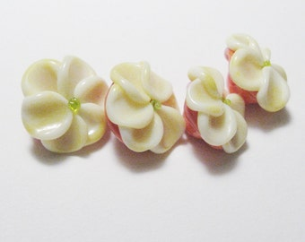FLOWER BUTTONS Artisan Lampwork Glass Beads handmade supplies in coral orange and lemon yellow sra