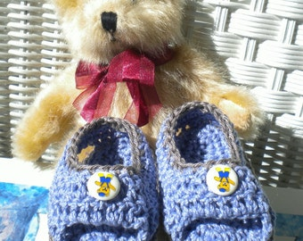 Crocheted Sandals Infant Boy 6 9 mo Blue Cotton Yarn