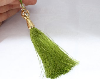 1 Pc Green Silky Thread Tassel 130 mm with Swarovski Stones and Gold Tone Caps for your lovely designs