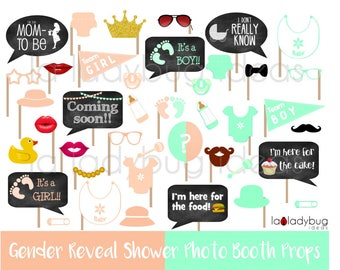 Gender reveal baby shower photo booth props. Peach and mint.  Printable DIY baby shower props. Instant download. Boy or girl. He or she