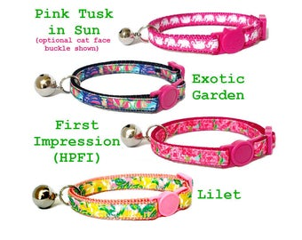 Lilly Pulitzer-inspired Cat Collar with Breakaway Buckle ~ Exotic Garden | HPFI | Lilet