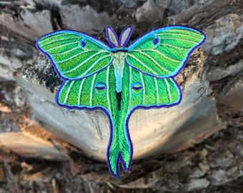 Luna Moth Embroidered Patch -  denim jacket patch, punk patch, Moth