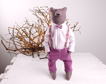Artist teddy bear ooak Stuffed bear Soft sculpture for animal lover Textile stuffed animal Magenta color