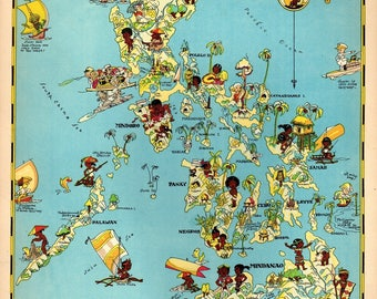 House map etsy 1930s vintage philippines picture map cartoon map philippine islands print beach house decor gift for traveler publicscrutiny Images