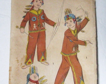 40s 50s Child Indian Costume Vintage Advance 705 UNUSED Pattern Native American Jacket Pants Headdress, Kids Play Set, Boy or Girl Chest 26""