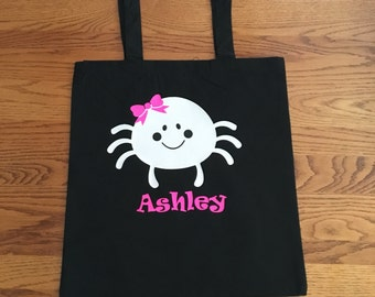 Personalized Trick or Treat Bag - Halloween Bag - Halloween Bag Spider - Custom Halloween Bag - Halloween Party Favors -  Halloween Parties