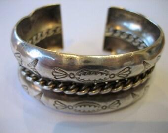 Vintage Navajo Native American Hand Stamped Sterling Silver Cuff Bracelet 49 Grams
