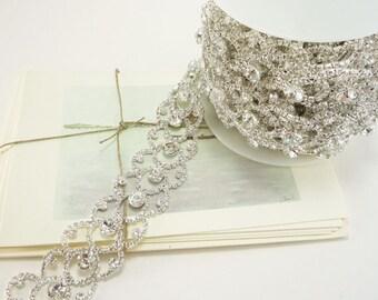 30mm Silver Rhinestone Scallop Border Rhinestone Chain Clear Crystal Trim Applique Wedding Trim ( 5 yard Qty)