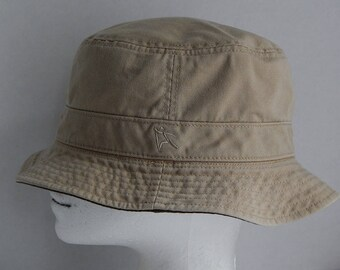Reversible Adult M/L Cotton Beige/Dark Olive Green Sun Boonie Bucket Hat Hiking