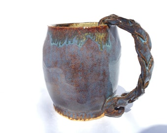 Large BLUE Handmade pottery ceramic mug with braided handle, signed by artist, dated and numbered special edition