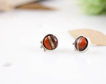 Mismatched Orange Enamel Studs, orange studs, orange ear studs, orange burgundy studs, small orange studs, enameled studs, Enamel Jewelry