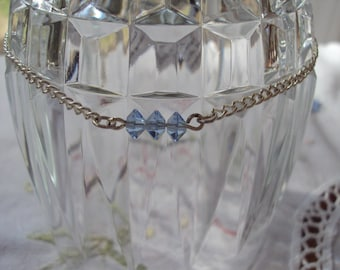 Silver Chain Anklet with Blue Crystal Beads