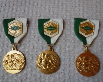 Sports festival oxnard livestock exposition swimming medal/medallion pinbacks X 3 1960's
