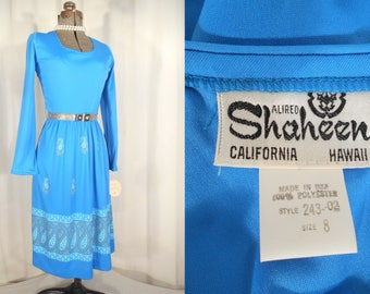 Vintage 1970s Dress - Alfred Shaheen Dress, Small Blue Boho Dress NOS