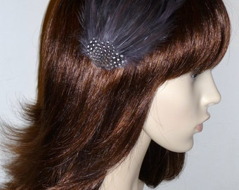 Dark Grey Pewter Feather Fascinator HAIR CLIP Bridesmaids Hair Accessory Handmade Wedding 'Gwen'