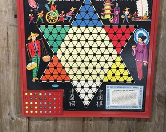 Vintage Retro Chinese Checker Board Rare