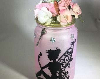 Fairy Mason Jar Lantern - Fairy Luminaire - Fairy Flameless Votive Holder - Pink Fairy Mason Jar Nightlight - Tea Light Candle Holder