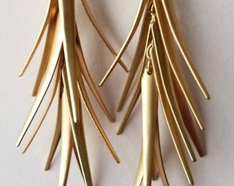 Gold Leafed Dangle Earrings
