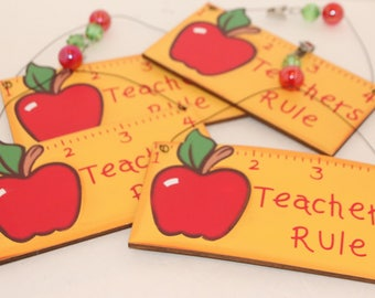 Teachers Rule Wood Set of 4 Tablecloth Weights or Ornaments