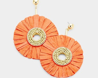 Orange Raffia Disc  Earrings
