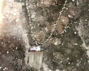 Clear Quartz soldered pendant on 24 inch ball chain