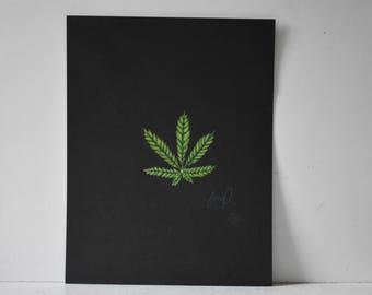 Weed Leaf original Colored Pencil Print