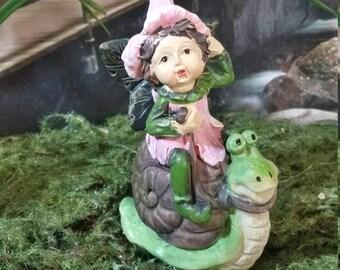 Fairy Garden Miniature Fairy for your Fairy Garden, Fairy Riding a Snail, Young Girl Fairy, Fairy Garden Fairy, Faerie