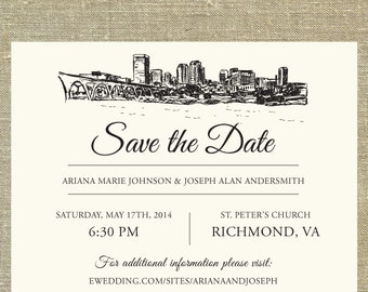 Richmond Skyline Save the Date SAMPLE ONLY; Virginia city skyline; custom wedding