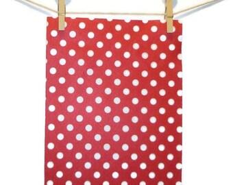 Polka dot, felt, red felt, craft supplies, crafting, polka dot felt, polyester craft felt, foglio feltro, polyester felt, feltro, 4 pc