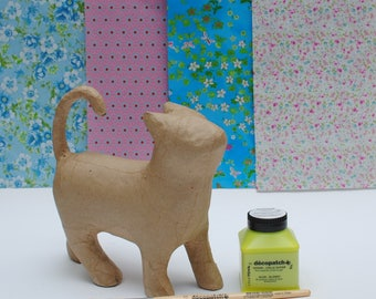 Decopatch Chloe the Cat Kit - includes model, decopatch papers, glue and brush.  Gift wrapped.