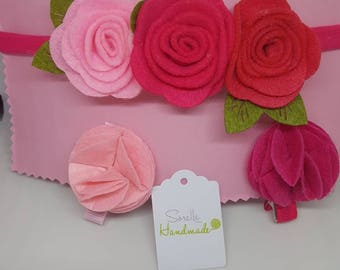 Headband and hair clips made of handmade felt. Nylon Baby headband felt flower felt bow. Felt hairclip