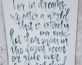 Hand Lettered Quotes, Song Lyrics and Affirmations, Watercolour, Hand Lettered, Hand Lettering, Brush Lettering, Gift, Handmade