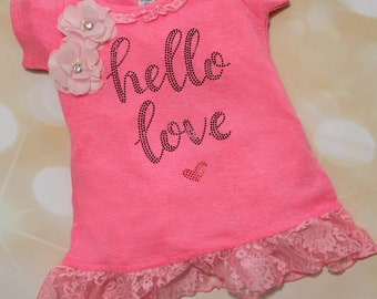 Girls Infant Layette Pink Dress Lace Trim Cotton Short Sleeve Baby Dress with Rhinestone Applique