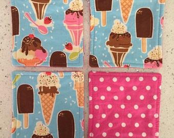 Drink Coasters - Set of 4 - Ice Cream on Blue