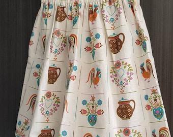 Vintage Rooster Gather/Elastic Skirt