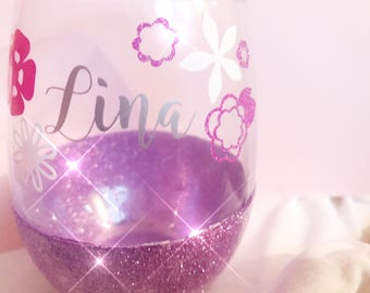 Stemless Glitter Wine Glass | Custom Made | Floral | Personalized | Bridesmaid Birthday Wedding Gift