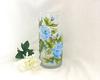 Free shipping Blue hydrangeas hand painted personalizable glass base