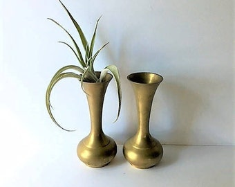 Set Of Two Brass Bud Flower Vases