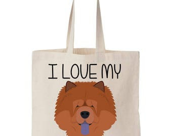 I Love My Chow Chow Canvas Tote Bag