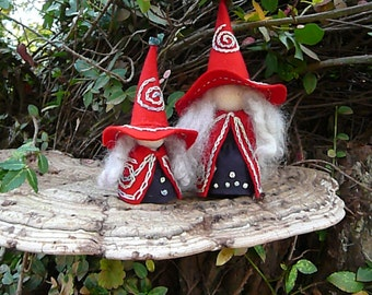 Mother Daughter Witches, Witch Peg Dolls, Waldorf Miniature, Art Doll