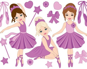 Ballerina Clipart - Digital Vector Girls, Ballet, Girls, Ballerina, Ballerinas Clip Art