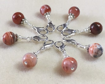 Red Agate Removable Stitch Markers | Progress Keepers for Knitting & Crochet