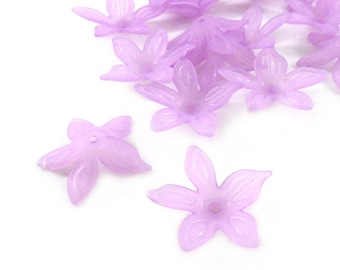 Light Purple Star Flower Beads, 25x5, Frosted Acrylic Floral Beads, Lucite Flower Beads, Acrylic Flowers, Bead Caps, Frosted Blue Beads