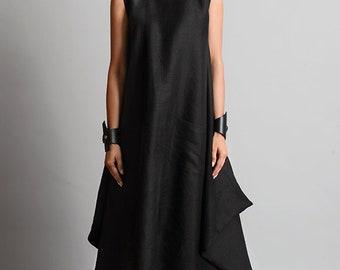NEW Black Maxi Dress/Plus Size Linen Dress/Asymmetric Black Kaftan/Linen Maxi Dress/Sleeveless Loose Dress/Oversize Black Dress/Summer Dress