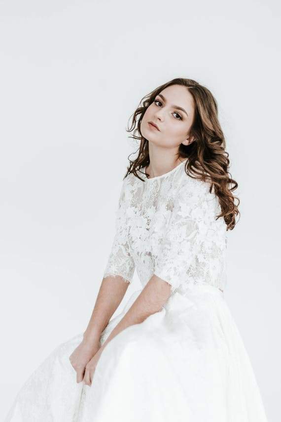 Bridal Lace Top Wedding Separates Floral Lace Toper Off