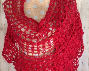Shawl,Stole,Lace Shawl,Crochet Shawl,Lightweight Wrap,Evening Shawl,Lace Crochet Wrap,Gift For Her,Crochet Wrap,Scarves and Wraps,Red Shawl