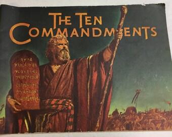 Vintage 1956 original movie program The Ten Commandments oversized illustrated souvenir book movie memorabilia
