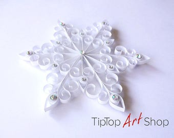 Quilled Paper Snowflake Ornament in White; Quilling Christmas Decorations